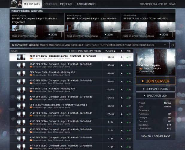 battlefield 1 server size
