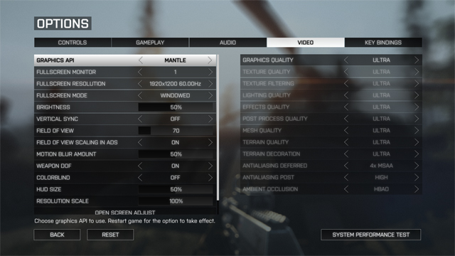 Mantle Graphics Options