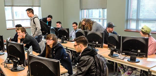Students in the CMPUT 250 course work in groups of six to develop games over four months. Photo courtesy of Kevin Schenk and Vadim Bulitko.