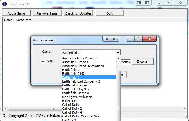 Раскрывающийся список игр с выбранным Battlefield 3.