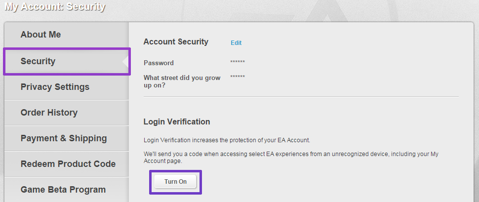 Turn on login verification in Origin My Account Security Tab