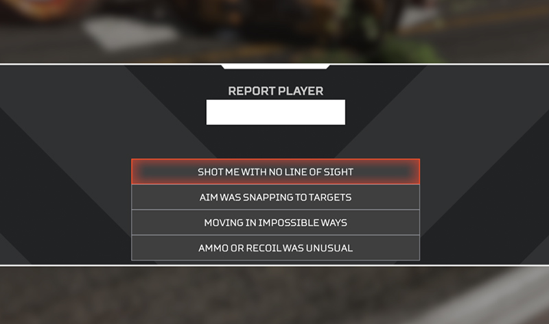 Choosing the reason you are reporting a player in Apex Legends.