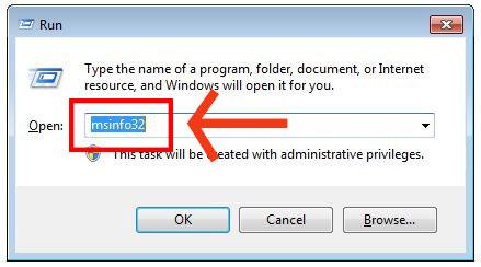 """Gib in das Dialogfeld des """"Ausführen""""-Pop-ups """"msinfo32"""" ein."""