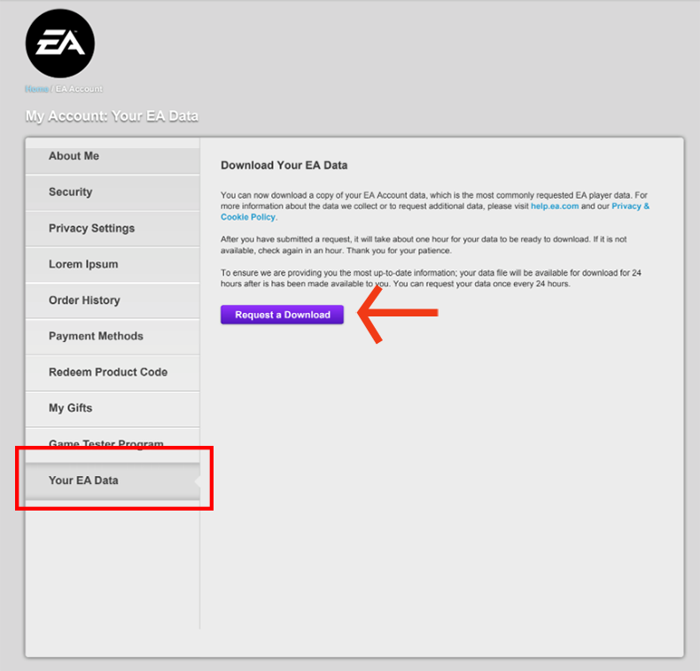 Access your EA Account data