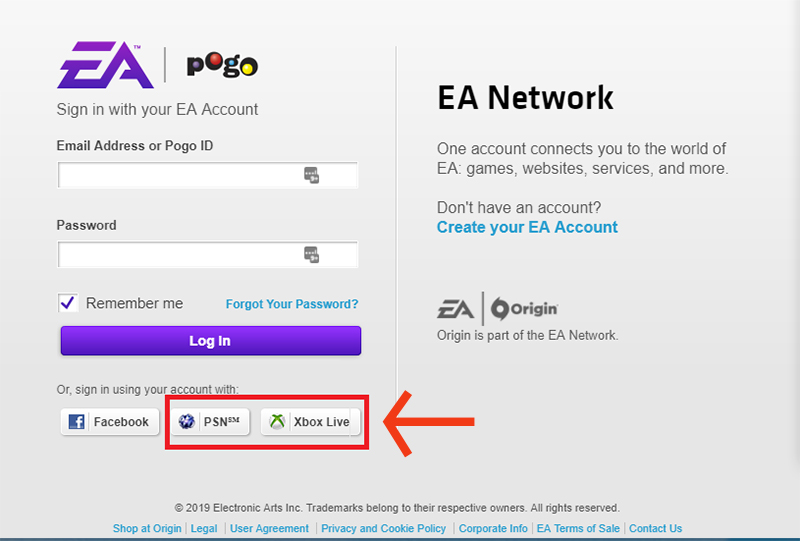 psn and xbox login options on the ea help login page - can t log into fortnite account