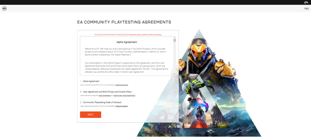 Screenshot of the Anthem Alpha Agreements on the Community Playtesting site