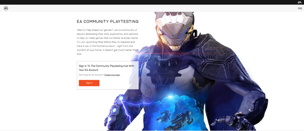 Screenshot of the EA Community Playtesting site