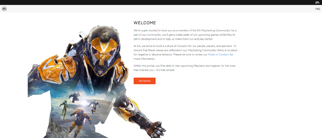 The welcome screen at the Community Playtest site