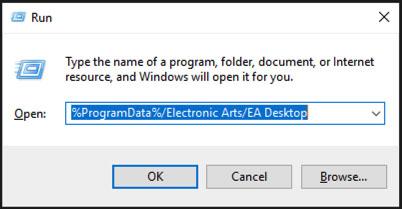 Ejecuta un comando de programas de Windows con la ruta del archivo de datos de programas de EA Desktop.