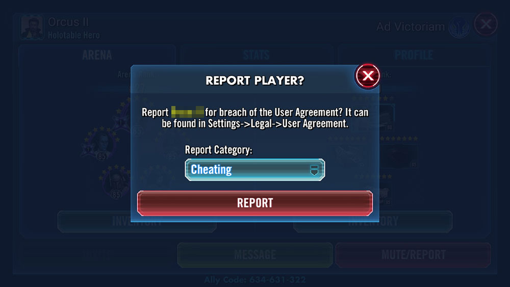 Report players for cheating, abuse, and harassment