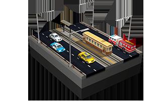Straßenbahn-Hauptstraße in SimCity BuildIt.