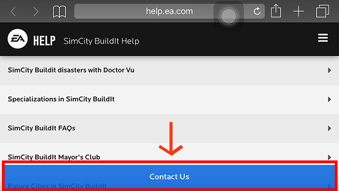 Tap Settings, Help, then the Contact Us button.