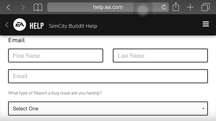 Enter your name, email, issue, and then fill out the rest of the form.