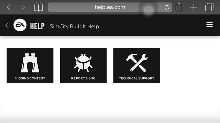Select the category that matches your issue: Missing Content, Report a Bug, or Technical Support.