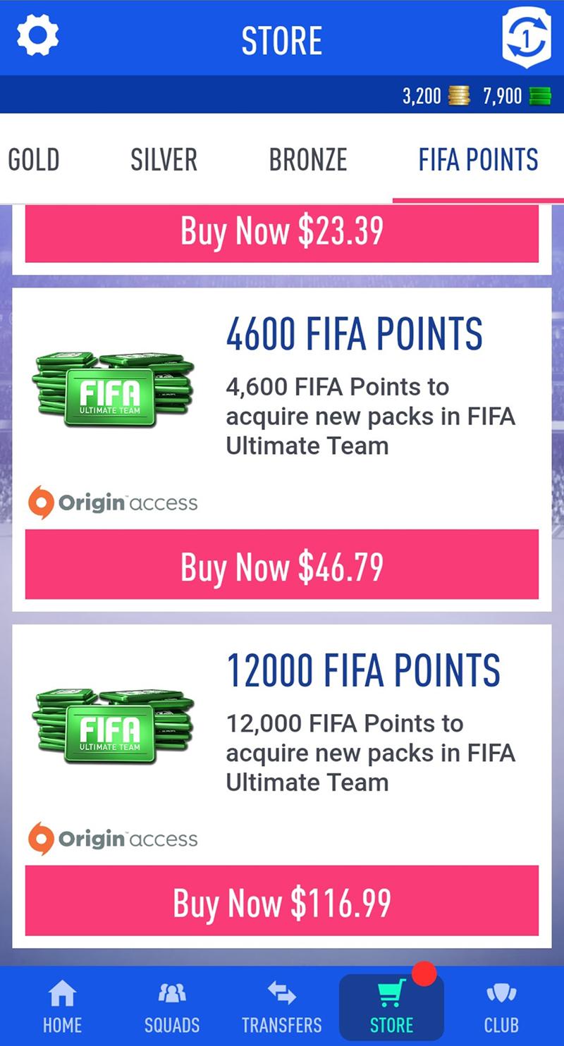 Ekran wyboru punktów FIFA Points w aplikacji FIFA Companion na urządzeniu zsystemem Android.