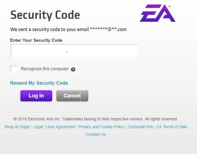 Ekran wprowadzenia kodu bezpieczeństwa odEA