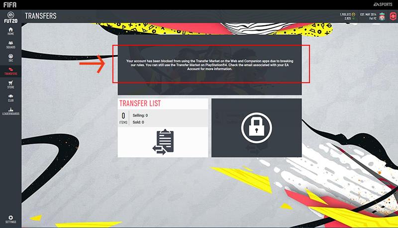 Message d'accès au Marché des transferts FIFA20 bloqué dans les apps Web et Companion