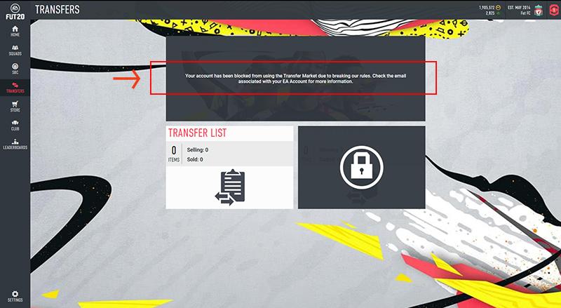 Message d'accès au Marché des transferts FIFA20 bloqué pour violation des règles dans les apps Web et Companion.