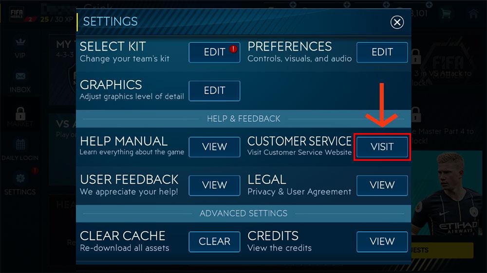 FIFA Mobile - Contact EA Help through FIFA Mobile's settings