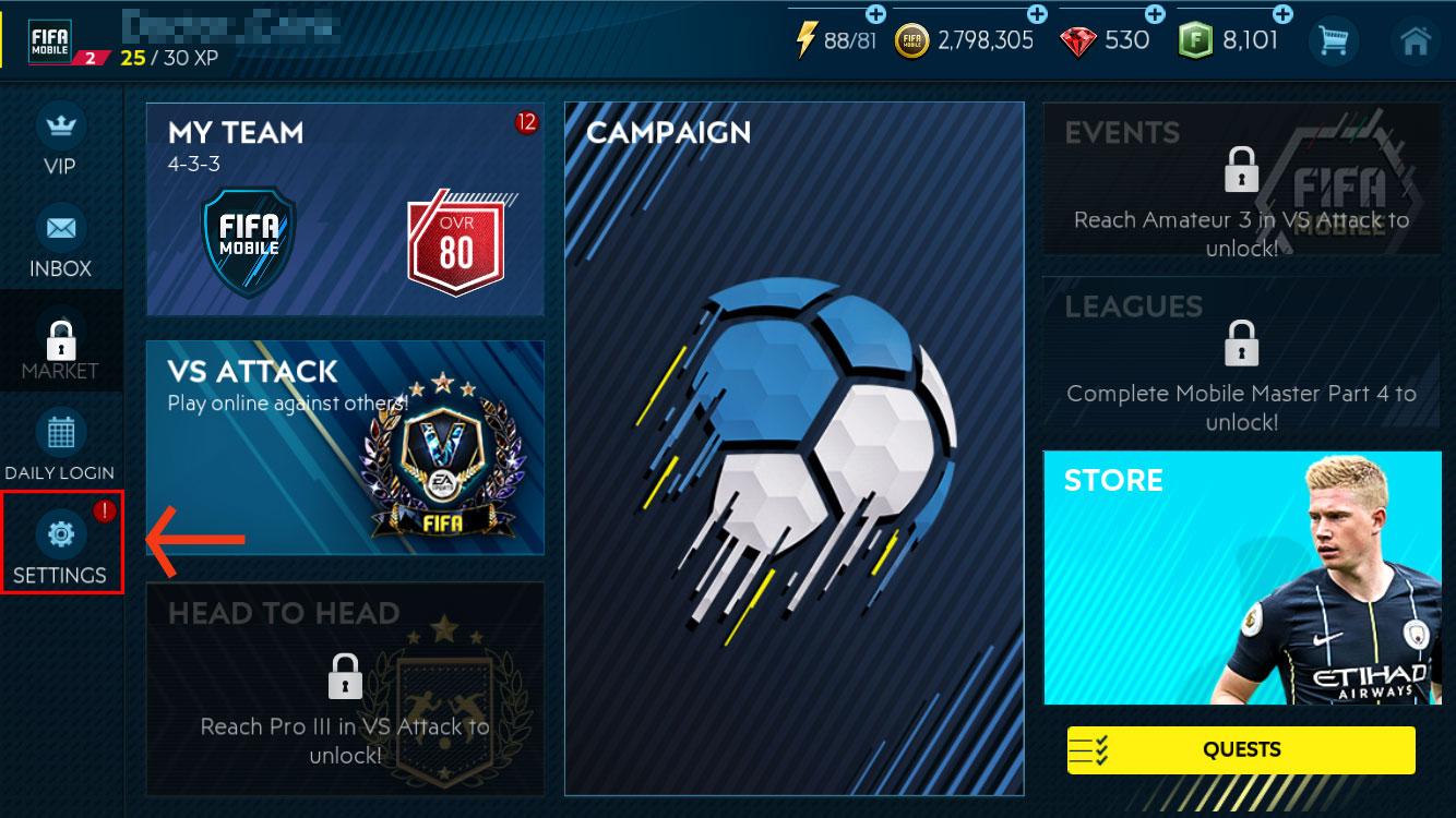 FIFA Mobile home screen