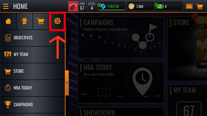 The Settings icon in the NBA LIVE Mobile app menu.