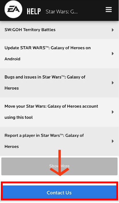 How to contact support for STAR WARS™: Galaxy of Heroes