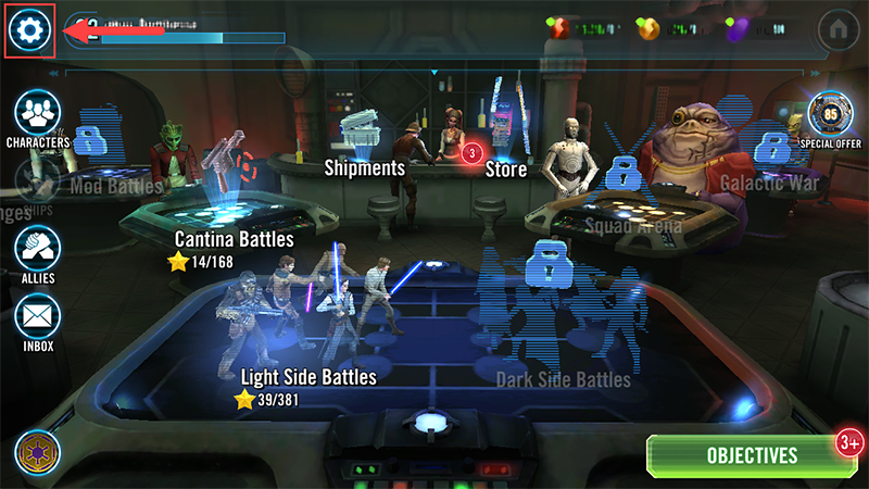 The Settings cog icon at the top left of STAR WARS: Galaxy of Heroes.