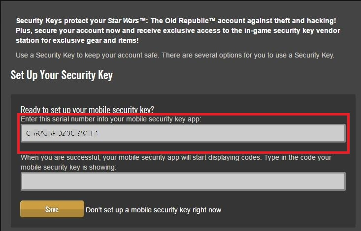 Star Wars: The Old Republic - SW:TOR Security Key