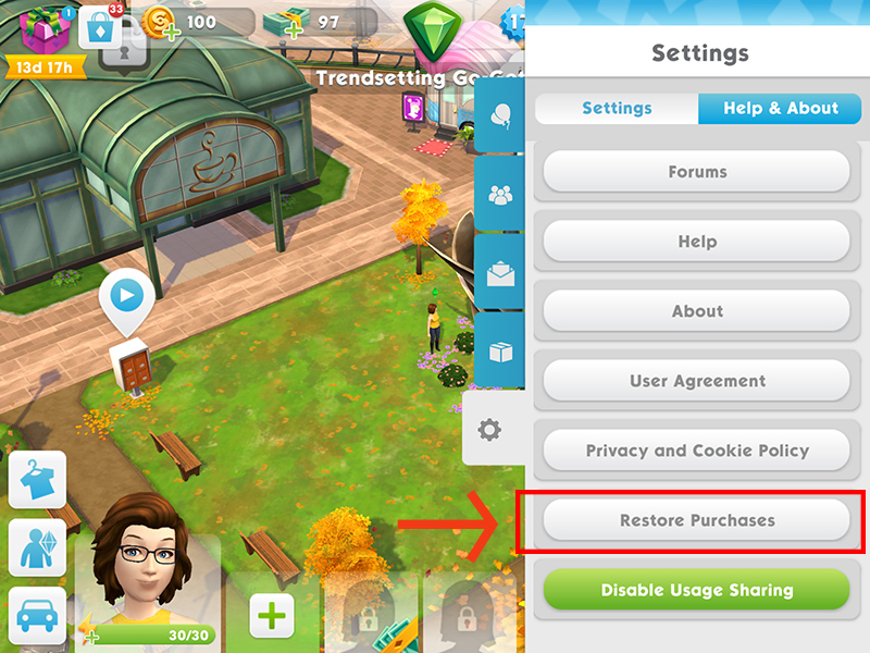 The Restore Purchases button is at the bottom of the Settings menu.
