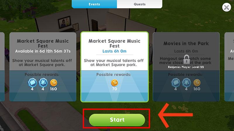 Tap the green start button beneath the Event description.