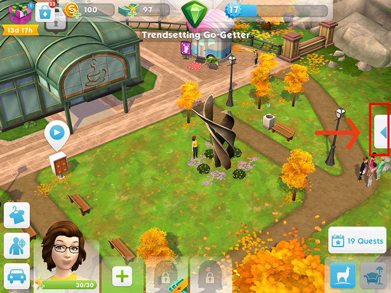 Tapping the arrow to open the help menu on the right side of the screen in The Sims Mobile.